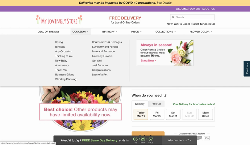 Lovingly promotes Florist's Choice arrangements in its florists' Occasions navigation menu.