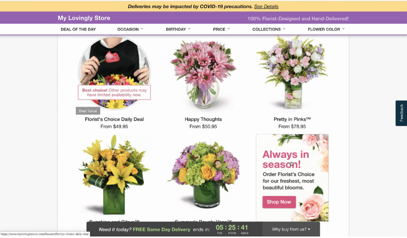 Lovingly promotes Florist's Choice arrangements in multiple locations of its florist partners' websites.