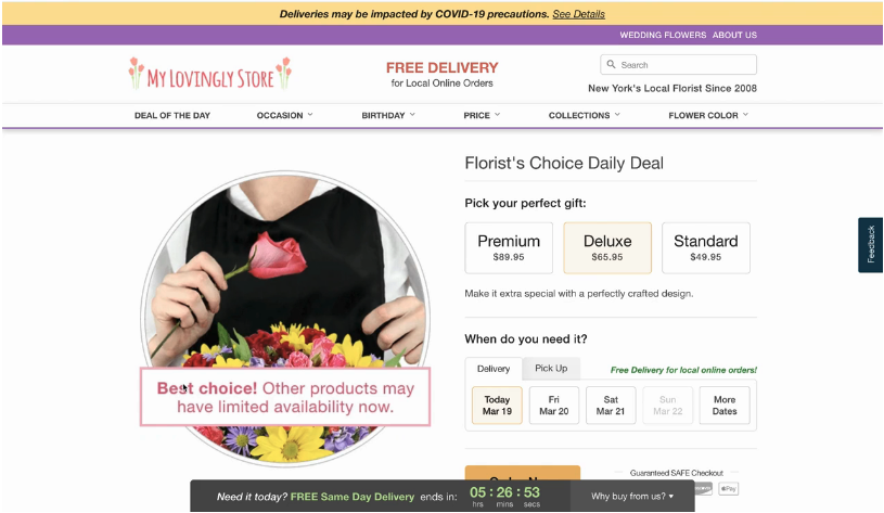Lovingly heavily promotes Florist's Choice arrangements to leverage inventories impacted by COVID-19.