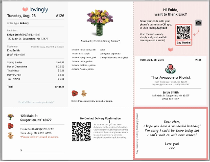 Lovingly introduced a digital no-contact delivery feature for its florist partners' delivery drivers.
