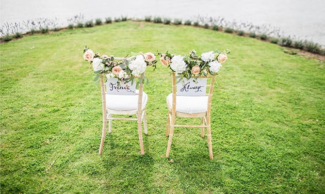 Wedding chairs that say Forever and Always