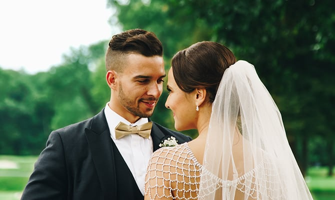 Bride and groom with styled hair