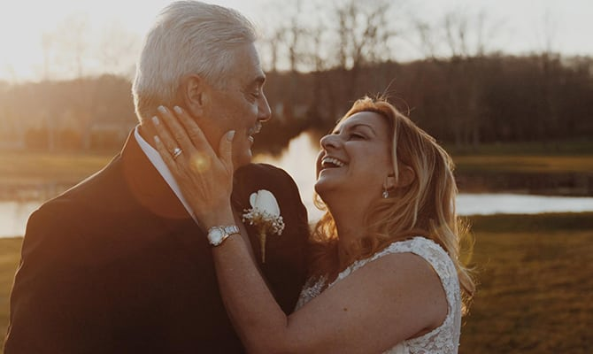 Older couple celebrate their wedding