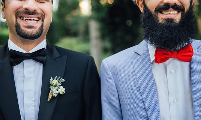 Groom and best man with beards