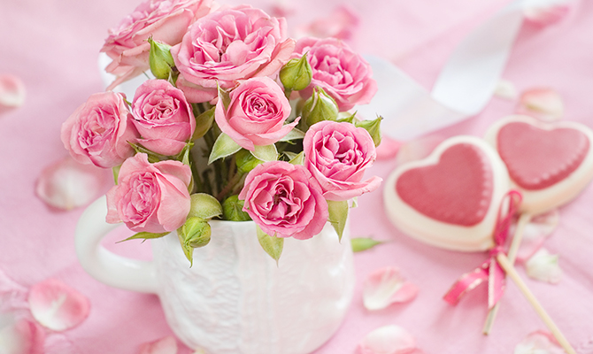 Pink roses and hearts