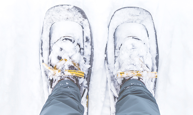 Snowshoeing in fresh snow