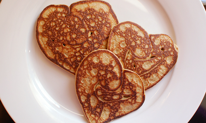 Heart shaped pancakes for kids