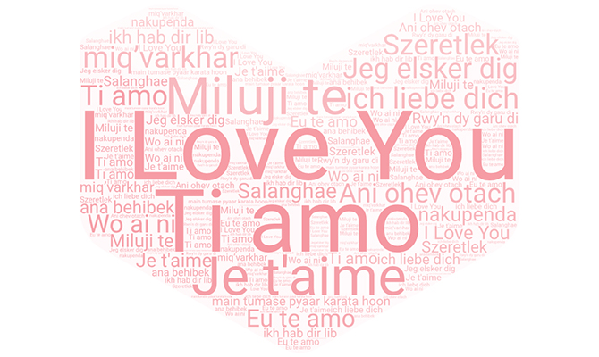 Word clous showing how to say I love you in different languages
