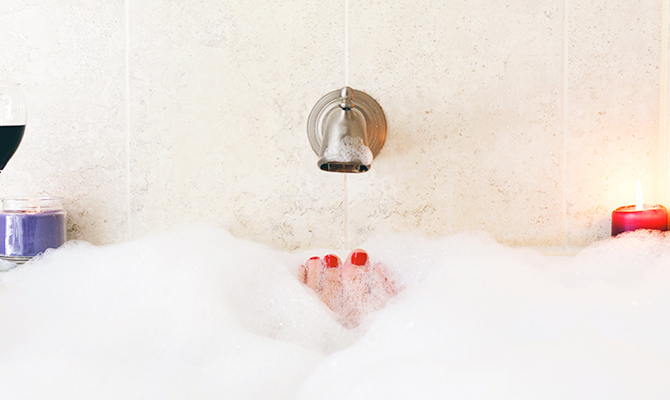 Woman enjoying relaxing bath