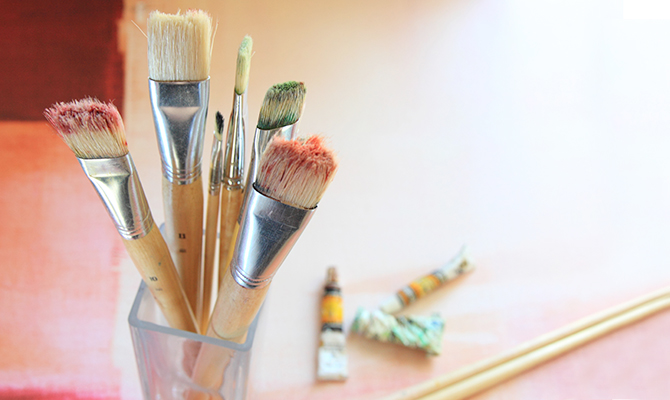 Paintbrushes, painting class