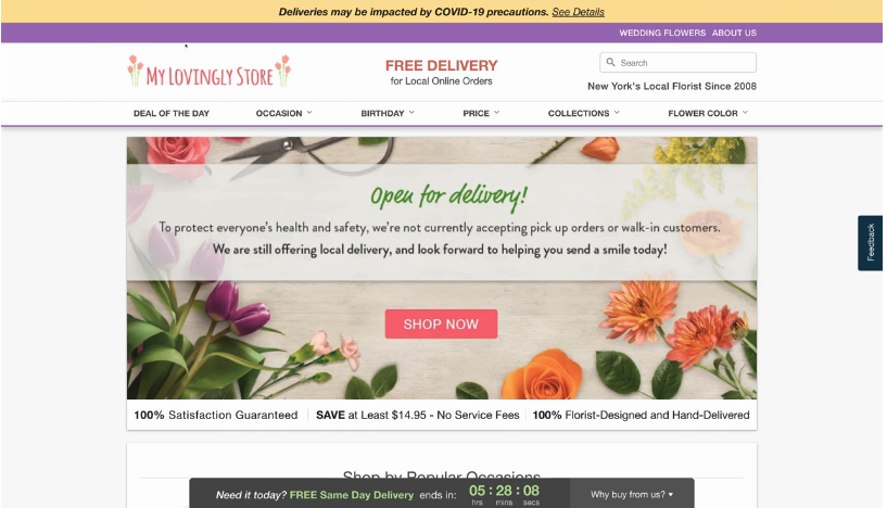 Lovingly adds no-contact delivery, hello bar announcements and temporary splash images to support its local florist partners through COVID-19.